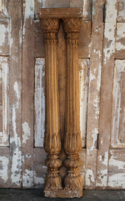 18th Century Double Mughal Pillar in Sandstone, Jaisalmer, Rajasthan <B>SOLD<B>